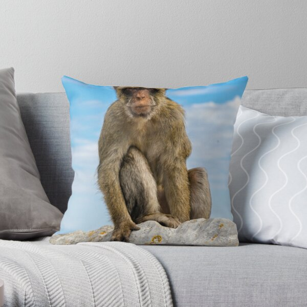 The famous apes of Gibraltar Throw Pillow