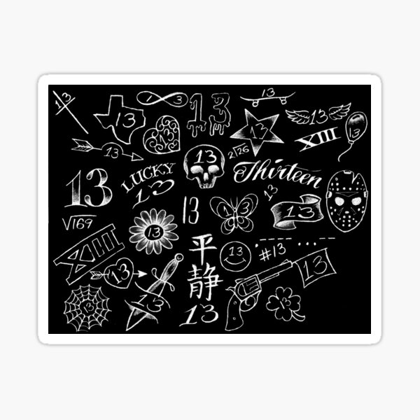 13 - Friday the 13th - white on black - 114455 Sticker