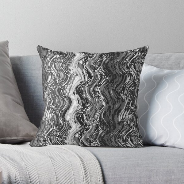 Black and White Watercolor Wavy Stripes Throw Pillow