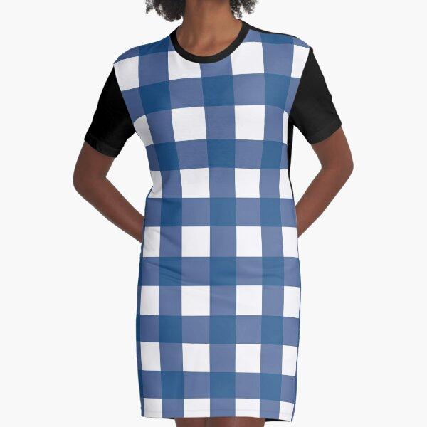 Blue Gingham Pattern  Graphic T-Shirt Dress
