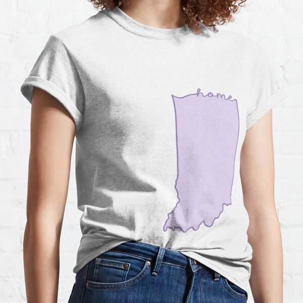 Indiana Home State Outline Purple Classic T-Shirt