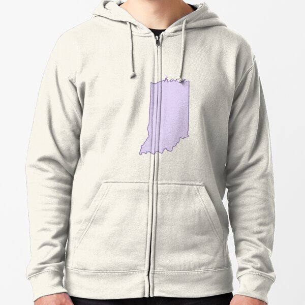 Indiana Home State Outline Purple Zipped Hoodie