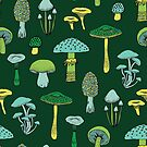 Midnight Mushrooms - Green - fun fungus pattern by Cecca Designs by Cecca-Designs