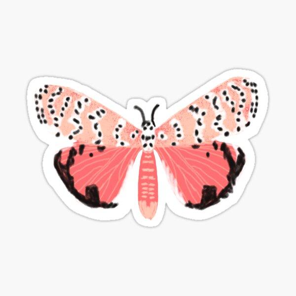 pink Tiger Moth sticker, moth art, pink moth, lepidoptery, moths, moth, witch sticker, butterfly sticker, butterflies, moths Sticker