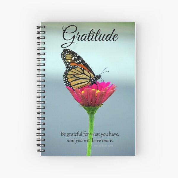 Gratitude - Butterfly on Pink Zinnia Flower Spiral Notebook