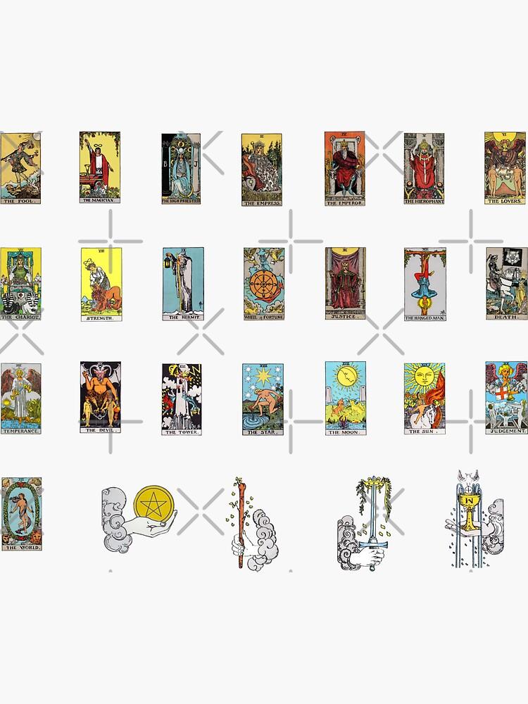 «Ensemble d'autocollants de cartes de tarot - Tous les arcanes majeurs avec feuille d'as bonus» par elevens