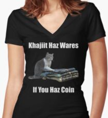 Khajiit haz wares - V.3 classic meme Women's Fitted V-Neck T-Shirt