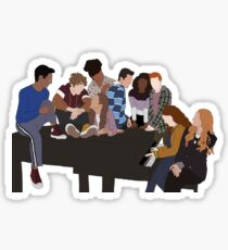 HSMTMTS cast on piano Sticker