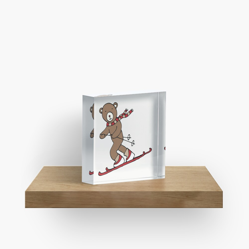 Skiing Bear -  A happy chap by Cecca Designs Acrylic Block