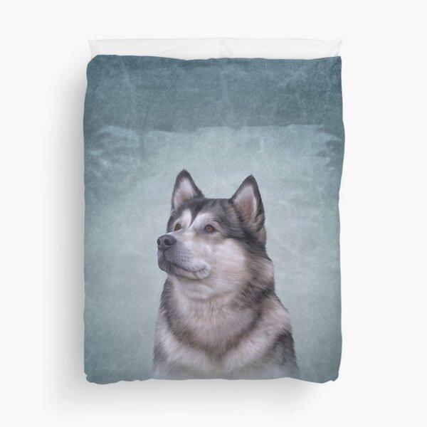 Drawing Dog Alaskan Malamute Duvet Cover