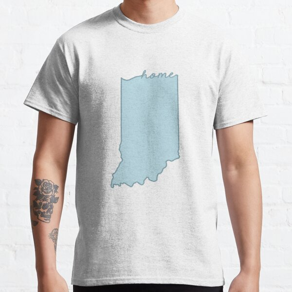 Indiana Home State Outline Blue Classic T-Shirt
