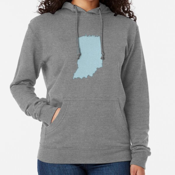 Indiana Home State Outline Blue Lightweight Hoodie