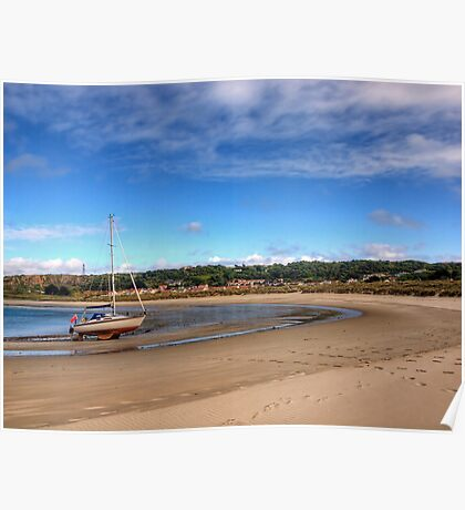 Tide out at Braye Beach - Alderney Poster