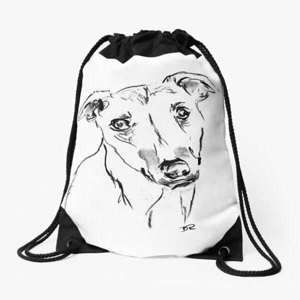 Whippet Drawing Drawstring Bag
