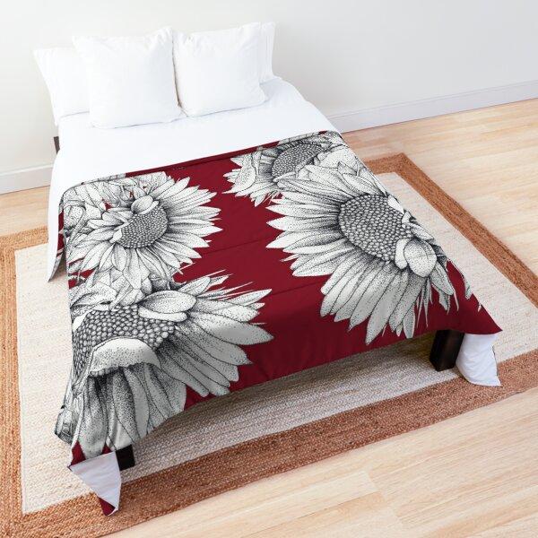Black and White Sunflowers  Comforter