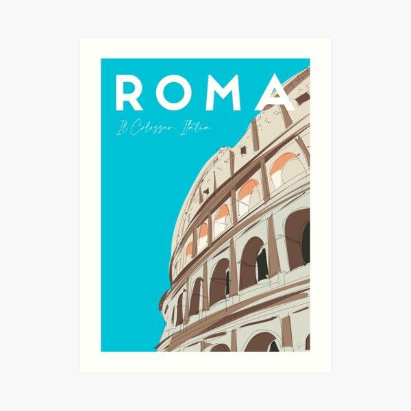 Rome, Italy Colosseum / Roma Il Colosseo, Italia Travel Poster Art Print