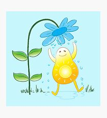Happy sunshine getting a flower bath Photographic Print