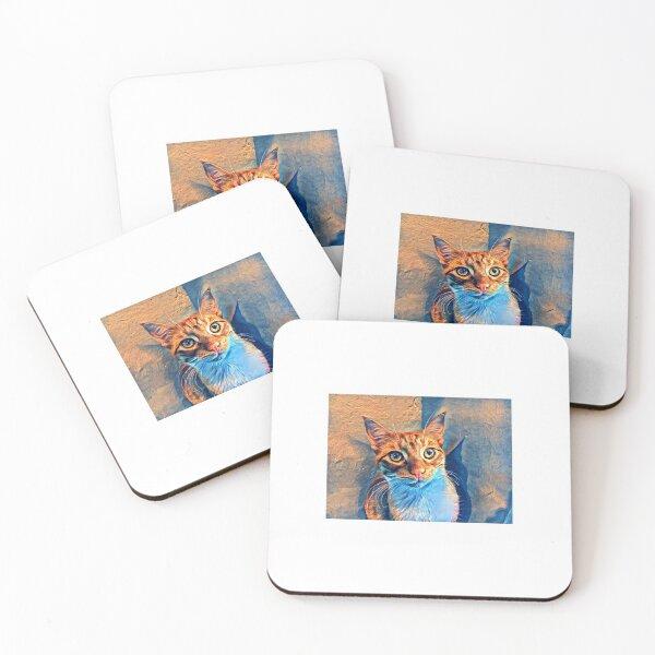 Van Gogh Ginger Cat Coasters (Set of 4)