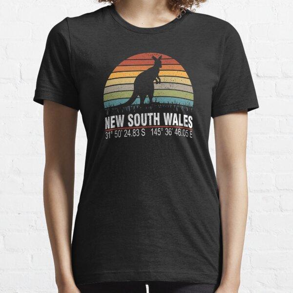New South Wales Australia Classic Distressed Retro Sun Kangaroo with GPS Coordinates Essential T-Shirt