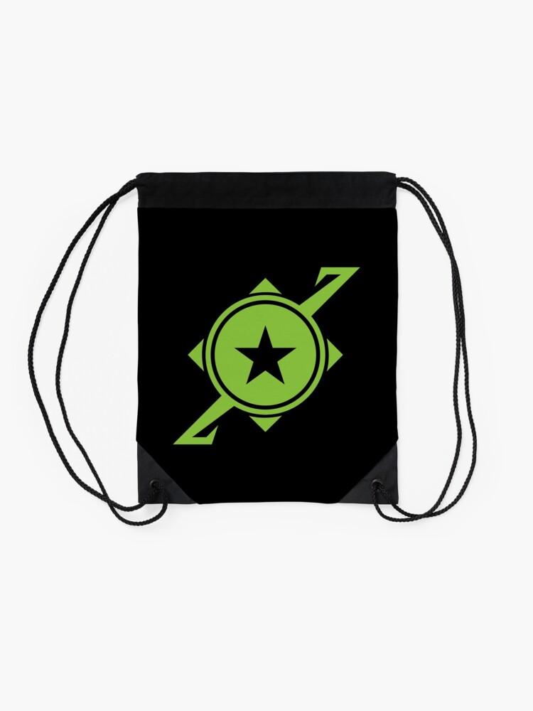 Alternate view of Galaxina Planet Logo - Lime Green Drawstring Bag