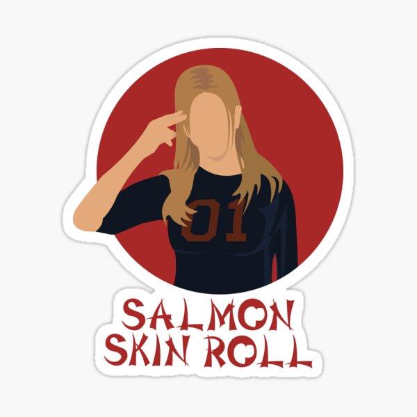 Ah, rollo de piel de salmón Pegatina