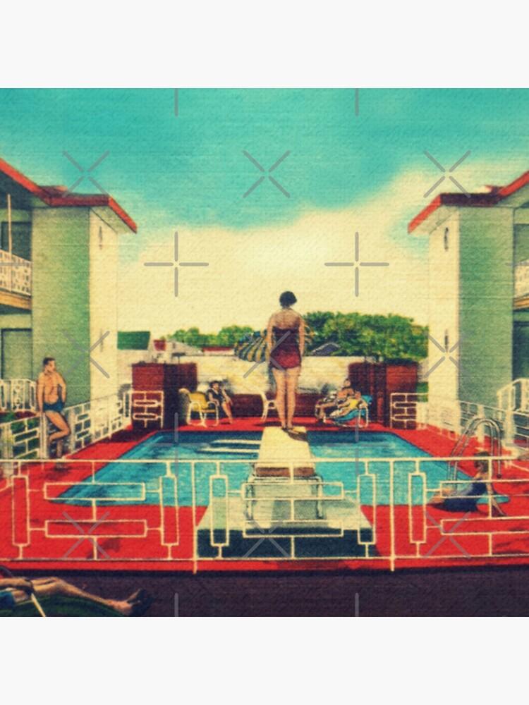 Mid century modern canvas 1950s motel pool photograph by KittipobLui