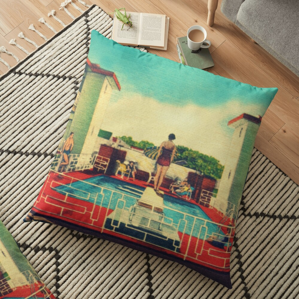Mid century modern canvas 1950s motel pool photograph Floor Pillow