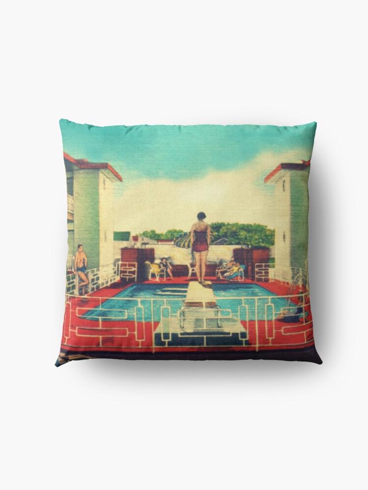 Alternate view of Mid century modern canvas 1950s motel pool photograph Floor Pillow