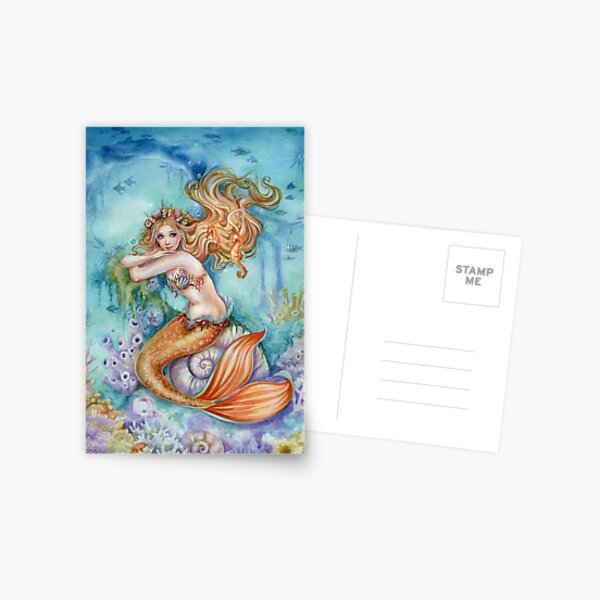 Mermaid Fantasy Art unter dem Meer Postkarte
