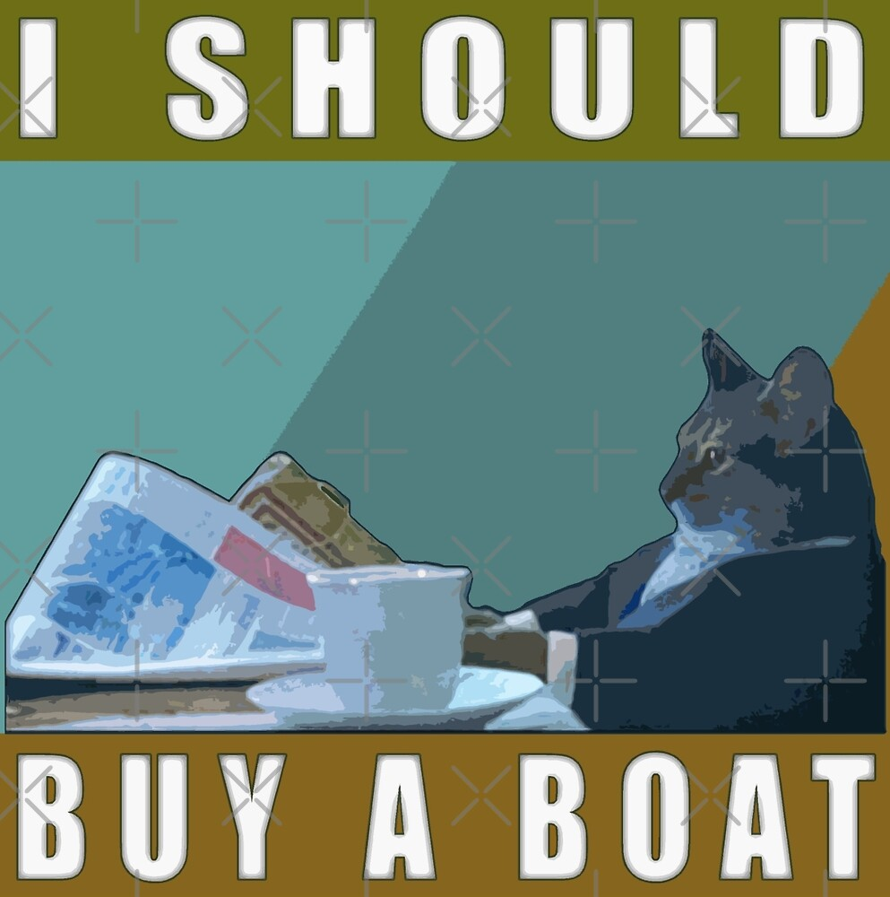 i should buy a boat   cat meme v 1 by dbatista redbubble