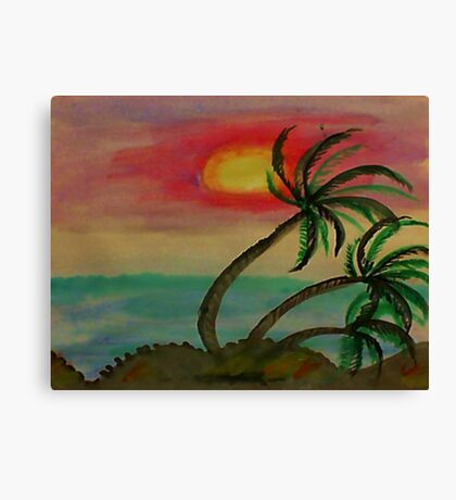 Windy Sunset seen thru the Palm Trees, watercolor Canvas Print