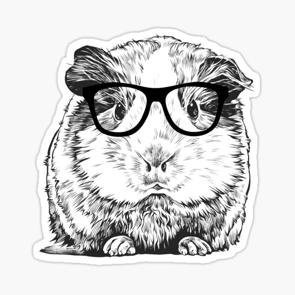 Hipster Guinea Pig Animal Line Drawing Sticker