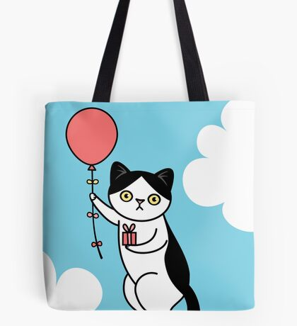 Birthday Cat - black and white Tote Bag