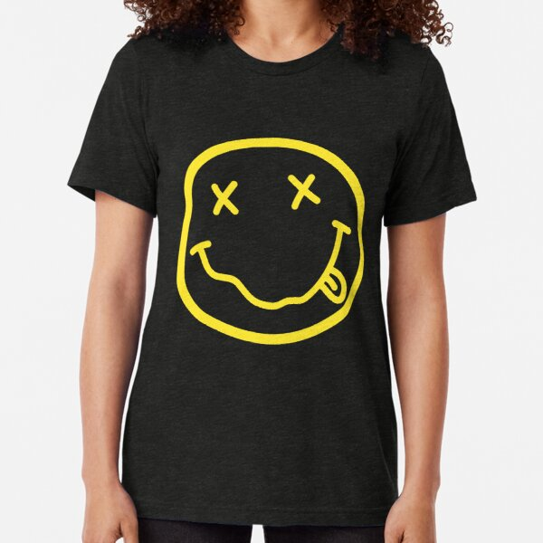 Nirvana style smiley face yellow Slim Fit T-Shirt Tri-blend T-Shirt