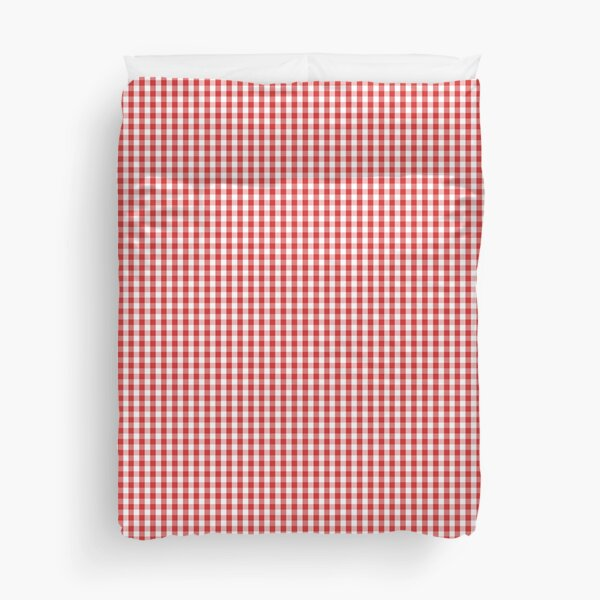 Red and White Gingham Pattern Duvet Cover