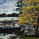 Fisherman boat and yellow tree by Antanas