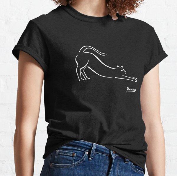 Chemise d'illustration de chat Pablo Picasso, reproduction de croquis de chaton T-shirt classique