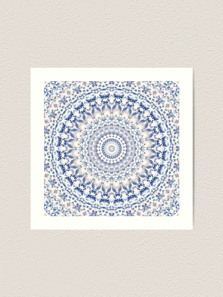 Fused Glass Mandala Layers Dimensional 6 x 6 Art Gift Blue Wall Framed Picture