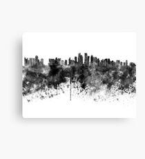 Doha-Skyline im schwarzen Aquarell Leinwanddruck