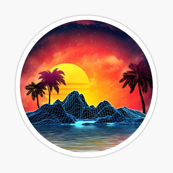 80s retro aesthetic vaporwave sunset Sticker