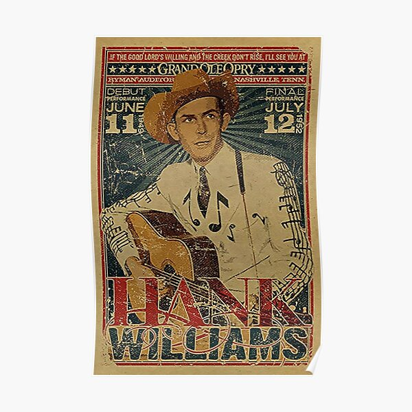 Hank Williams Vintage Grand Ole Opry Concert Poster Poster