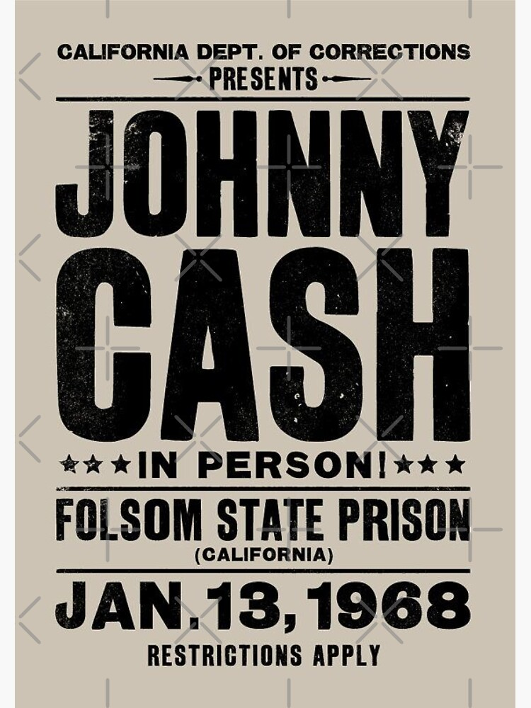 Johnny Cash Vintage Folsom Prison Concert Poster by tennessee-carly