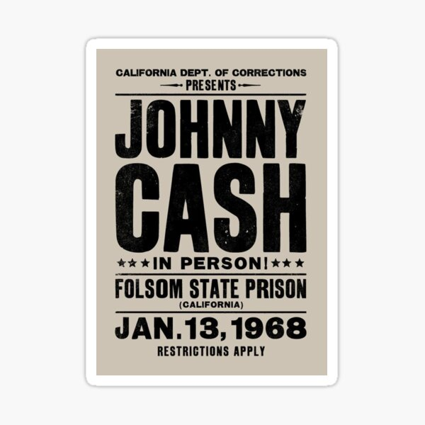 Johnny Cash Vintage Folsom Prison Concert Poster Sticker