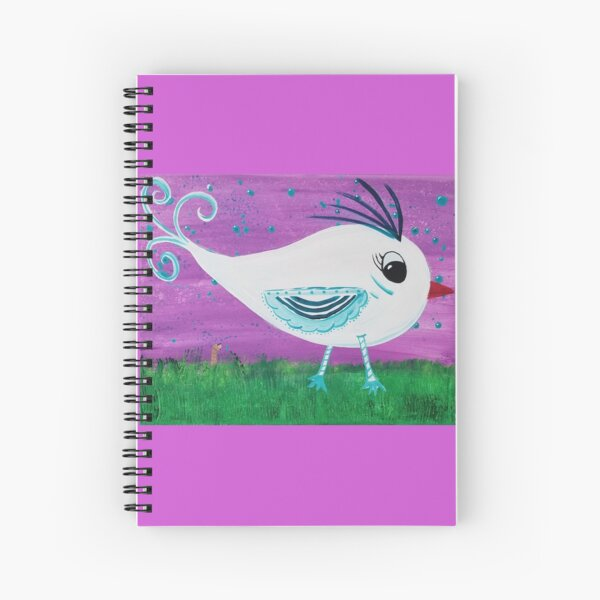 White Bird and Worm Spiral Notebook