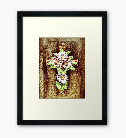 Ceramic Flower on Cross Framed Print