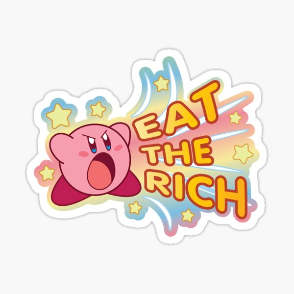 Kirby Eat The Rich - Rainbow Background Sticker