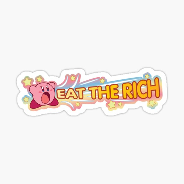 Kirby Eat the Rich Wide Sticker - Rainbow Background Sticker