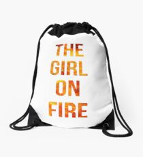 The Girl on Fire Drawstring Bag