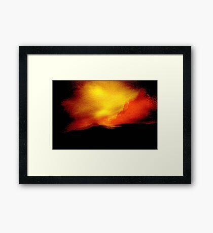sudden flare.... red yellow sky of indecision Framed Print
