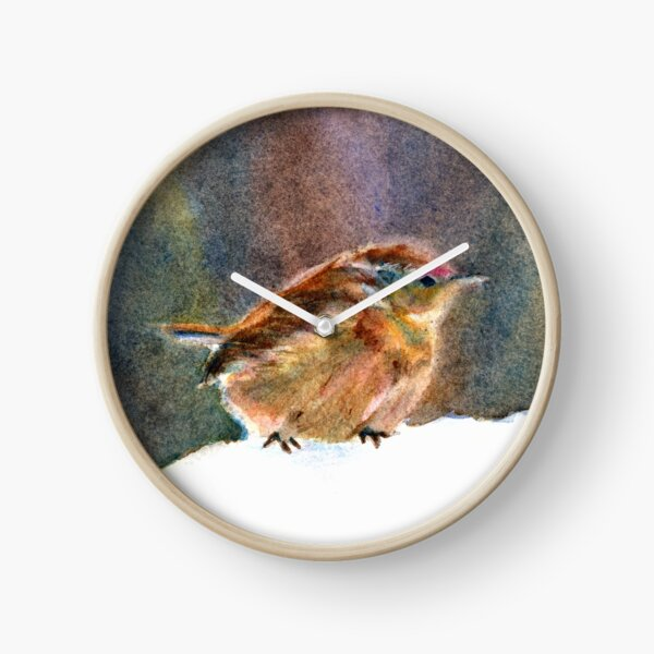 Mother Wren, from Watercolor Painting by Pamela Parsons Clock